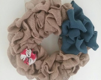 Burlap and Fabric Wreath