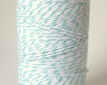 10 yards/ 9.144 m Mint Green Twine, Bakers Divine Twine,  Pastel Mint Green/Blue and White