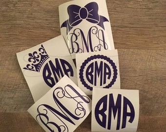 Decal- Monogram Decal Pack- Decal Set of 5- Car Decal- Personalized Decal- Laptop Stickers- Custom Stickers- Yeti Decal
