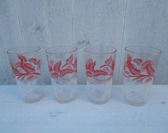 Red and White Fern Drinking Beverage Glass Tumblers - Mid Century Tumblers - Red and White Kitchen Glassware - Set of Four Glasses