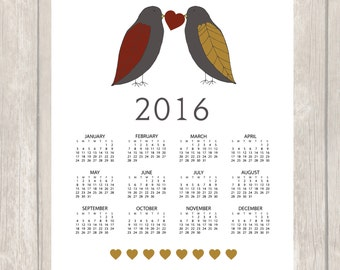 Wall Calendar 2016 - Printable 2016 Calendar - PDF Calendar - Birds Calendar