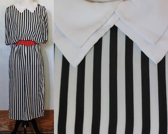 Vintage 1980s Black and White Striped Day Dress