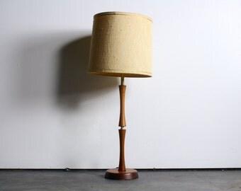 Sleek Mid Century Teak Lamp w/ Shade