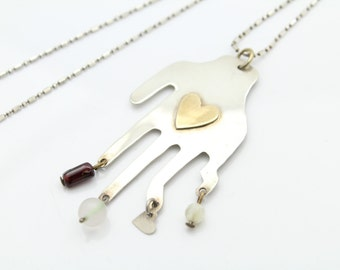 Unusual Handmade Sterling Silver and Crystal Hand and Heart Necklace. [8035]