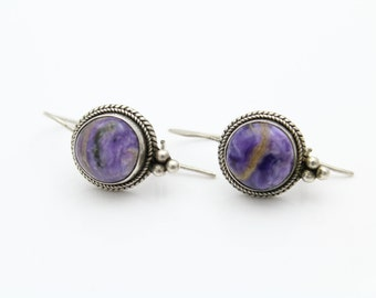 Tribal Dangle Earrings in Purple Charoite and Sterling Silver. [8362]