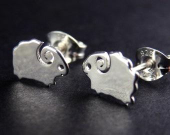 Sterling Silver Sheep Stud Earrings, Cute Studs