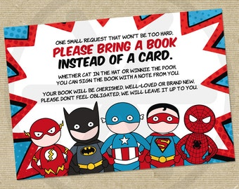 Please bring a book instead of a card - Superhero Baby shower book request card -  Printable PDF file.