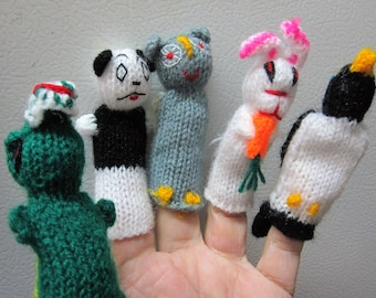 Hand-Knitted Finger Puppets