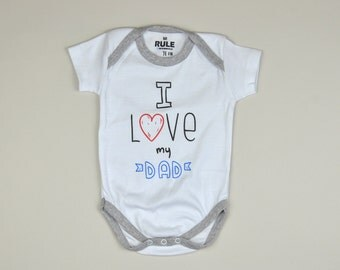 I LOVE MY DAD / Baby Onesie / bodysuit / one-piece / shortsleeved / white color / 6-9 months