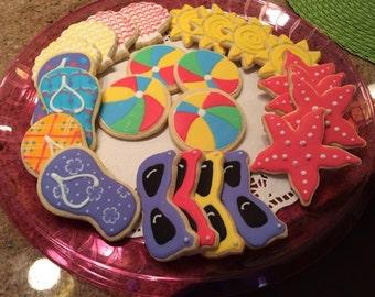 Summer/Beach Themed Sugar Cookies