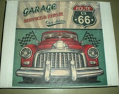 Route 66 Vintage Retro Garage Service Canvas Print - Canvas size 20.3 x 25.4cm - Hand Made