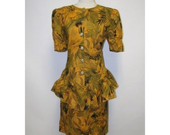 1980s / / / Tropical Print Peblum Secretay Office Dress