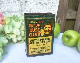Rare Antique Git Um Dust Cloth tin can, Auto Advertising box, Indian Native American storage, Green Yellow art deco, kitchen décor