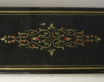 antique lacquered wooden trinket box c. 1900