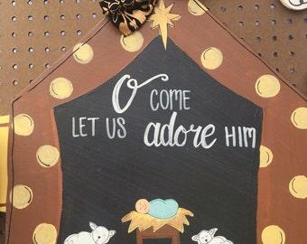 Wooden Nativity Door Hanger