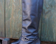 Clearance Vintage black Leather Riding Boots / 80s Leather Stack Heeled Boots / 80s Womens Biker Boots / Fetish Boots / Steampunk Boots / Go