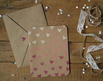 Valentine Card : Gradient of hearts - PINK
