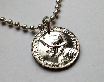 1968 Panama 1/10 of a Balboa coin pendant necklace jewelry Armored bust helmet Vasco Núñez de Balboa spanish explorer Panamanian No.000260