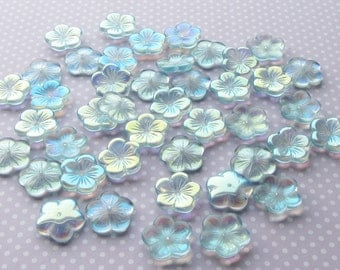 Large 20mm Czech Pressed Glass Beads, Flowers, Aqua Ab AB Flower Light Blue