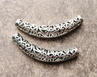 2 Huge Tibetan Filigree Strong Hollow Curved Tube Pendant Focal Beads  66mm Necklace Focals