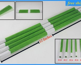 "PROMO SALE!!! 100 lines light Green Floral wire flower stem Artificial Length 12"" Size 20 22 24 26 28 30 gage lots of DIY supply handcraft"