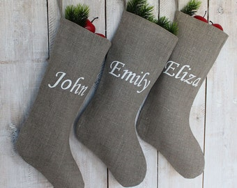 Christmas stockings set of 3 Personalized christmas stockings  Personalized linen Sotckings Kids Christmas Stocking  Zillioneparty