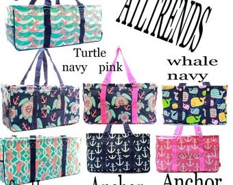 All Purpose Large Utility Bag Turtle/Whale/Sea Horse/Anchor With Free Monogram