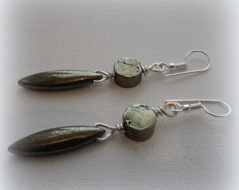 Earrings – Pyrite drops