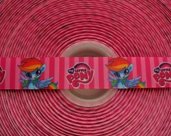 "RAINBOW DASH My Little Pony 7/8"" 22mm Grosgrain Hair Bow Craft Ribbon 2820"