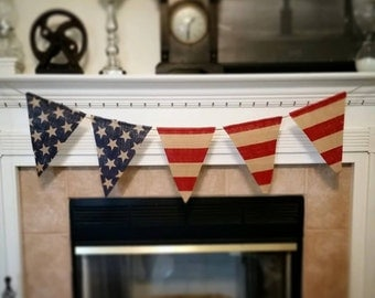 Burlap flag bunting banner, 4th of July, Memorial Day
