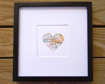 Heart Map Decor - Framed Map Heart - Choose Your City -Wedding Gift - Gift for Traveler - Engagement Present - Housewarming
