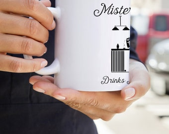 """Mister Grim: U.S. Made Coffee Mug With """"Mister Grim Drinks It Dirty"""" Graphic"""