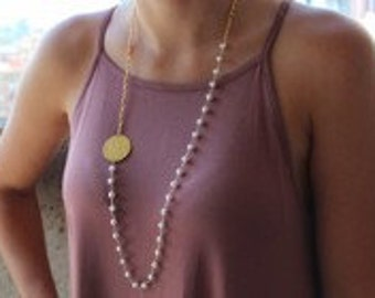 Monogrammed Pearl  Side Necklace, Gold Necklace