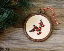 Reindeer Ornament - Floral - Landscape Scenery - Christmas Decor -  Embroidery Hoop Art