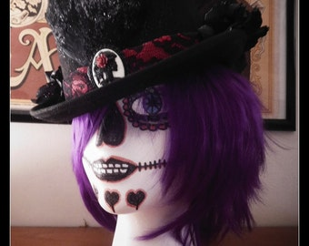 Black and Red Gothic Voodoo Hat
