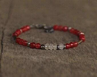 Raw Silver, Moonstone and Pink Agate Bracelet, Raspberry Pink Bracelet, Silver Dainty Bracelet , Oxidized Bracelet, Sterling Silver