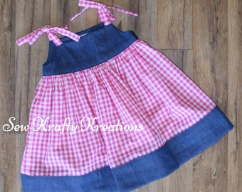 Girl's Dress - Pink Gingham with Denim - Tie Shoulder Dress