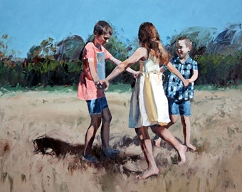 Limited edition, giclee art print, on 100% cotton rag, a reproduction, from my, original impressionist, oil painting, 'Age of Innocence'.