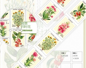 Flower Stamp Washi Tape -- Japanese Washi Tape -Deco tape--38mm x10M