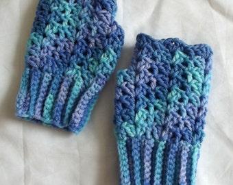 Crochet Fingerless Gloves Texting Gloves Blue Lavender Boho Shabby Chic Lacy Acrylic