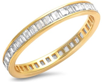3mm Full Eternity Invisible Baguette Yellow Gold Sterling Silver Diamond CZ Stackable Wedding Engagement Band Ring Matching Band for Ring