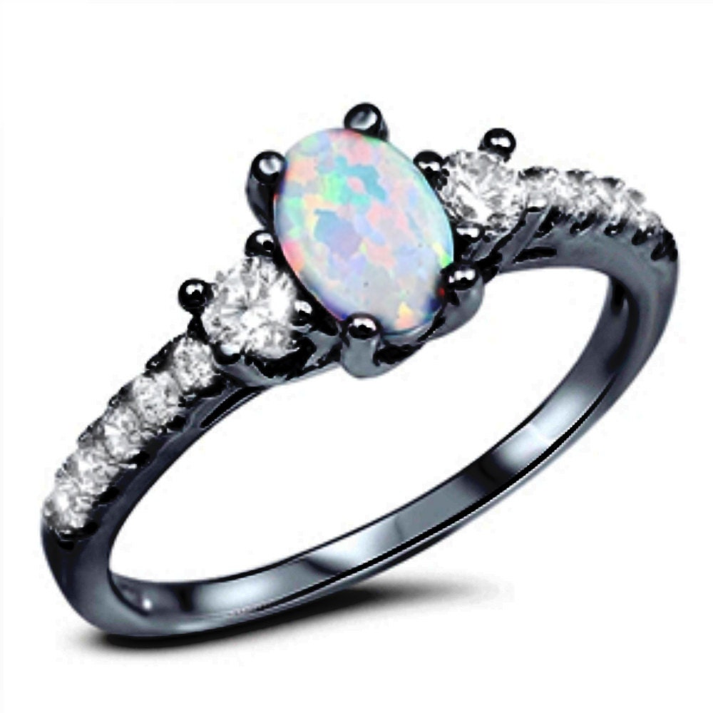 3 stone wedding engagement ring sterling silver white opal. Black Bedroom Furniture Sets. Home Design Ideas