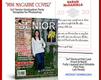 New. 2017 Senior Graduation Party Invitation Template For Photoshop. Looks Like A Magazine Cover But Only 5x7 In Size. Great For Parties.