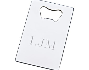 Bottle Opener, Credit Card Size,  Silver Color with Free Engraving