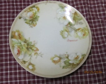 """Vintage Artist Signed Raymond O & E.G. Hand Painted Austria Yelow Roses Saucer 6"""""""