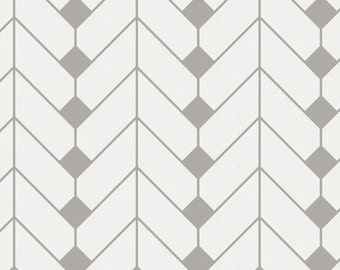 Silver Gray Diamond Herringbone Organic Fabric - By The Yard - Girl / Boy / Gender Neutral