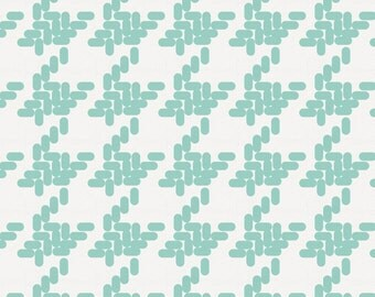 Mint Modern Houndstooth Fabric - By The Yard - Gender Neutral / Herringbone