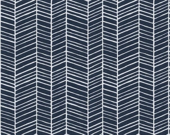 Navy Herringbone Fabric - By The Yard - Boy / Girl / Gender Neutral