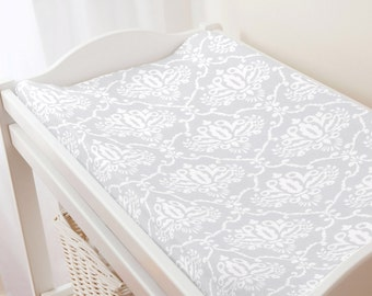 Carousel Designs Gray Damask Changing Pad Cover