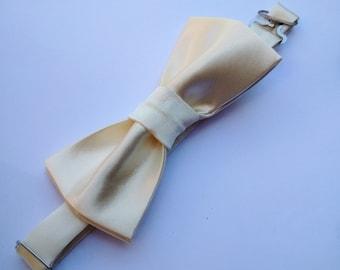 Silky Cream Bow Tie